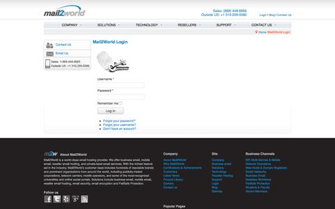 Screenshot of Login Page mail2world.net - Mail2World Login - Email Hosting - Business Email - Email Service Provider - Email Hosting Service - Small Business Email - captured Oct. 5, 2017
