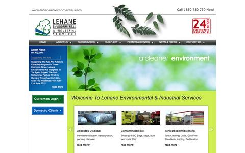 Screenshot of Home Page lehaneenvironmental.com - Lehane Environmental - Hazardous Waste Disposal Cork Ireland - 1850 730 730 - captured Sept. 20, 2015