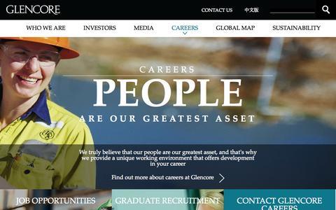 Screenshot of Jobs Page glencore.com - Careers       | Glencore - captured Sept. 19, 2014