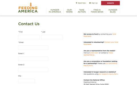 Screenshot of Contact Page feedingamerica.org - Contact Us - Feeding America - captured Jan. 22, 2020