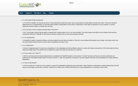Screenshot of FAQ Page galenmd.com - Main - captured Oct. 20, 2016