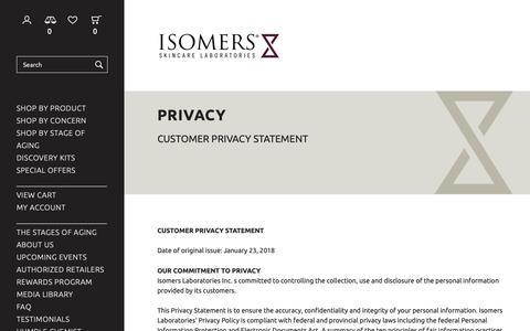 Screenshot of Privacy Page isomers.ca - Privacy - Isomers Laboratories Inc - captured Dec. 19, 2018