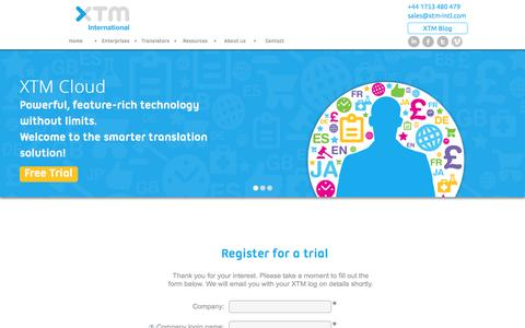 Screenshot of Trial Page xtm-intl.com - Translation Management Software Free Trial - XTM Cloud - captured Oct. 7, 2014