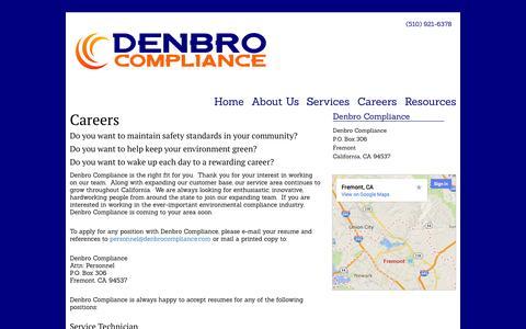 Screenshot of Jobs Page denbrocompliance.com - Careers   Denbro Compliance - captured Sept. 30, 2014