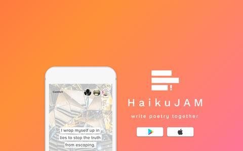 Screenshot of Home Page haikujam.com captured July 15, 2018