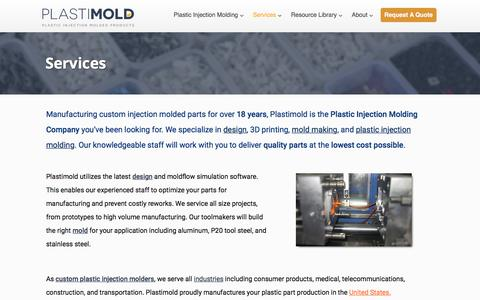 Screenshot of Services Page plastimoldproducts.com - Plastic Injection Molding | Mold Making | Part Design - American Made - captured July 19, 2018