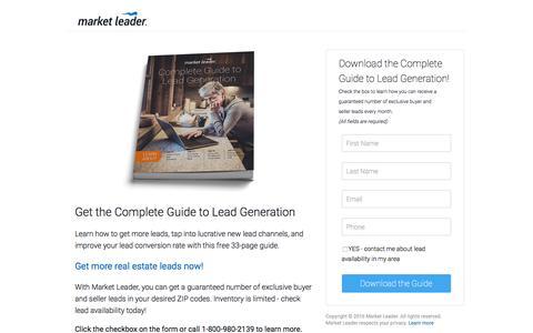 """Screenshot of Landing Page marketleader.com - Download Market Leader's """"Complete Guide to Lead Generation"""" - captured Sept. 2, 2016"""