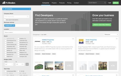 Screenshot of Developers Page protenders.com - Global Developer Construction Companies   ProTenders - captured July 3, 2016