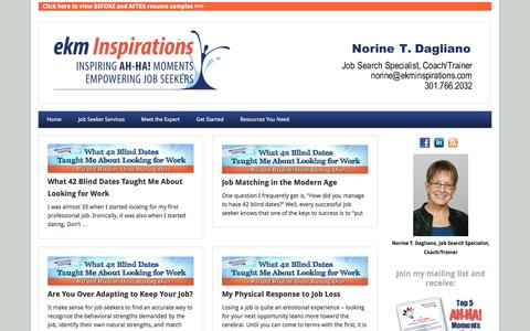 Screenshot of Blog ekminspirations.com - Job Search Tips and Advice from Norine Dagliano | ekm Inspirations - captured Sept. 30, 2014