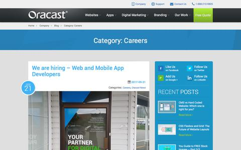 Screenshot of Jobs Page oracast.com - Careers Archives - The Official Oracast Blog - captured April 26, 2018