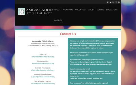 Screenshot of Contact Page ambassadorpitbulls.org - Contact Us - captured Oct. 3, 2018