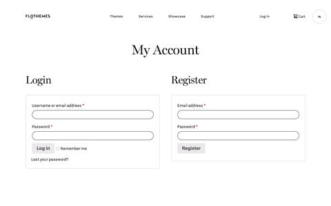 Screenshot of Login Page flothemes.com - My Account - Flothemes - captured June 1, 2019