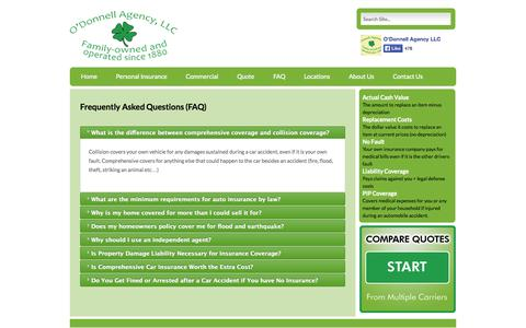 Screenshot of FAQ Page odonnellagency.com - Frequently Asked Questions (FAQ) | NJ Insurance – Auto, Homeowner, Commercial – O'Donnell Agency - captured Oct. 27, 2014