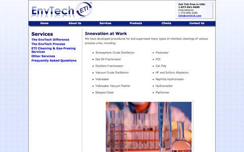 Screenshot of Services Page envtech.com - EnvTech, Inc. Services - captured Sept. 30, 2014