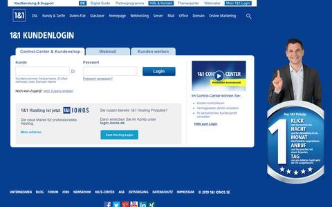 Screenshot of Login Page 1und1.de - 1&1 Kunden-Login - Anmeldung zu Ihrem Control-Center - captured July 19, 2019
