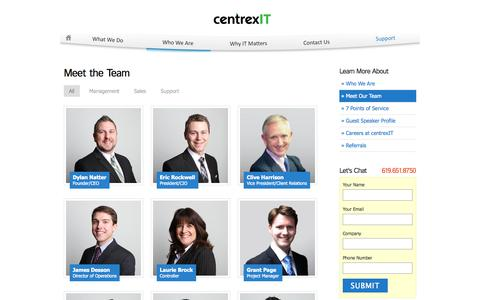 Screenshot of Team Page centrexit.com - Meet The Team | San Diego's Leader in IT Consulting | CentrexIT.com - captured Sept. 30, 2014