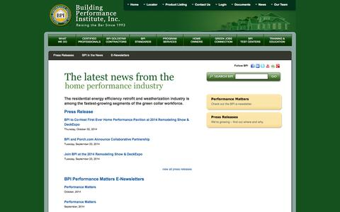 Screenshot of Press Page bpi.org - BPI News | Newsletters, Press Releases, & Media Coverage of BPI - captured Oct. 5, 2014