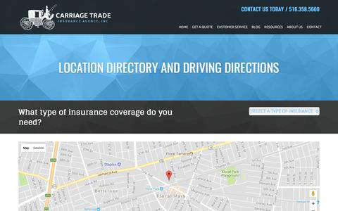 Screenshot of Locations Page carriagetradeinsurance.com - Carriage Trade Insurance Agency Locations and Driving Directions - captured July 16, 2017