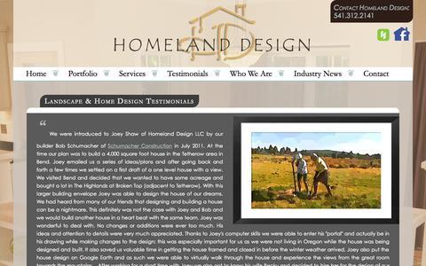 Screenshot of Testimonials Page homelanddesignllc.com - Landscape Design Bend | Homeland Design llc - captured Sept. 30, 2014