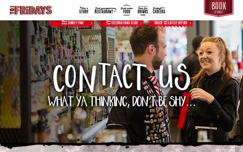Screenshot of Contact Page tgifridays.co.uk - Contact Us | TGI Fridays - captured Feb. 17, 2016