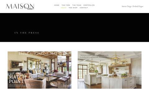 Screenshot of Press Page maisoninc.com - PRESS about Maison Inc Interior Design — MAISON INC - captured July 27, 2018