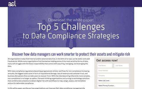 Screenshot of Landing Page acl.com - Download Top 5 Challenges to Data Compliance Strategies - captured May 19, 2018