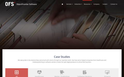 Screenshot of Case Studies Page objectfrontier.com - Case Studies - captured Jan. 21, 2017