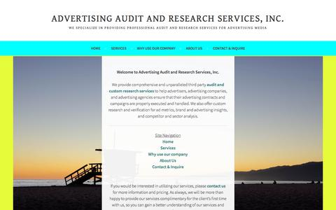 Screenshot of Home Page advertisingauditandresearch.com - Advertising Audit and Research Services, Inc. – We specialize in providing professional audit and research services for advertising media - captured July 9, 2018