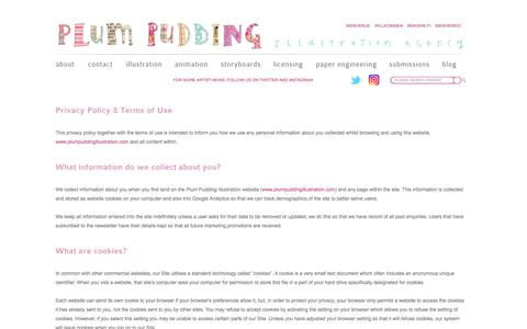 Screenshot of Privacy Page plumpuddingillustration.com - Plum Pudding Illustration Agency - Privacy Policy - captured July 19, 2018