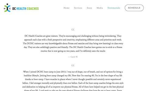 Screenshot of Testimonials Page dchealthcoaches.com - Testimonials Ń DC Heath Coaches - captured Jan. 7, 2016