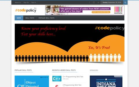 Screenshot of Home Page Terms Page codepolicy.com - Free online skill tests, know proficient level, Interview preparation, Skill Contest | CodePolicy - captured Sept. 30, 2014