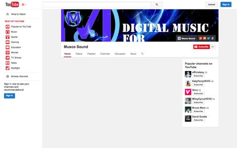 Screenshot of YouTube Page youtube.com - Musco Sound  - YouTube - captured Oct. 26, 2014