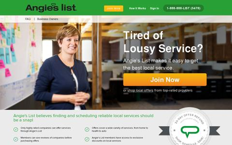 Screenshot of Home Page angieslist.com - Angie's List | Find a Local Business, Ratings, Reviews, Deals - captured July 11, 2014