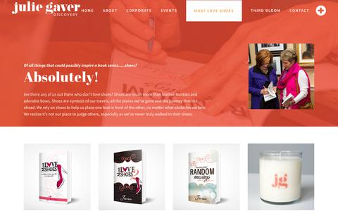 Screenshot of Products Page juliegaver.com - Julie Gaver Discovery |   Must Love Shoes – Books and Products - captured Oct. 14, 2018