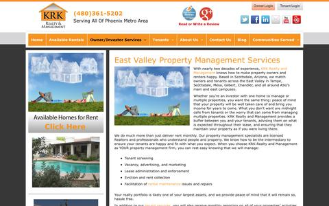 Screenshot of Services Page krkrealty.com - Scottsdale Property Management Services | KRK Realty and Management - captured Oct. 27, 2014