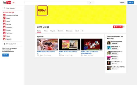 Screenshot of YouTube Page youtube.com - Edna Group  - YouTube - captured Oct. 23, 2014