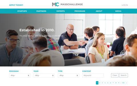 Screenshot of Press Page masschallenge.org - Media | MassChallenge - captured May 17, 2018