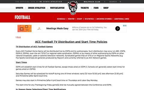Screenshot of gopack.com - NC State Athletics - ACC Football TV Distribution and Start Time Policies - captured Nov. 8, 2017