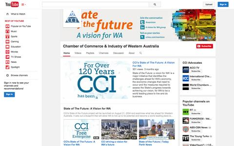Screenshot of YouTube Page youtube.com - Chamber of Commerce & Industry of Western Australia  - YouTube - captured Oct. 30, 2014