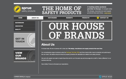 Screenshot of About Page sprue.com - About Us | Sprue Safety Products - captured Sept. 22, 2014