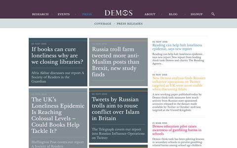 Screenshot of Press Page demos.co.uk - Press - Demos - captured Nov. 6, 2018