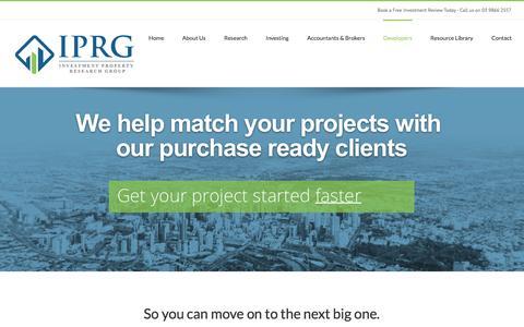 Screenshot of Developers Page iprg.com.au - Find Property Investors | How to Find Investors for Property - captured Nov. 19, 2016
