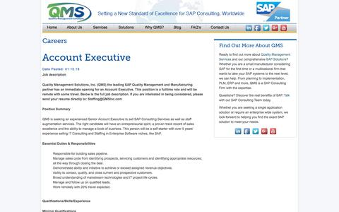 Screenshot of Jobs Page qmsinc.com - Careers at Quality Management Solutions   QMS - captured Jan. 16, 2018