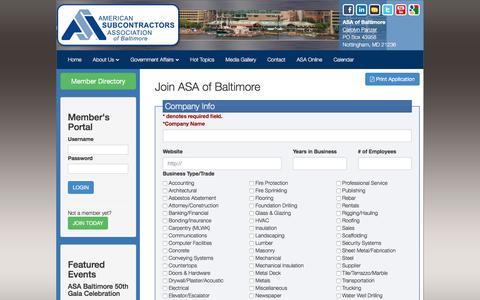 Screenshot of Signup Page asa-baltimore.com captured May 28, 2017