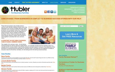 Screenshot of Case Studies Page hublerfamilybusiness.com - Examples of Best Family Business Solutions and Case Studies - captured Feb. 1, 2016