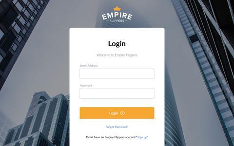 Screenshot of Login Page empireflippers.com - Login | Empire Flippers - captured Oct. 12, 2019