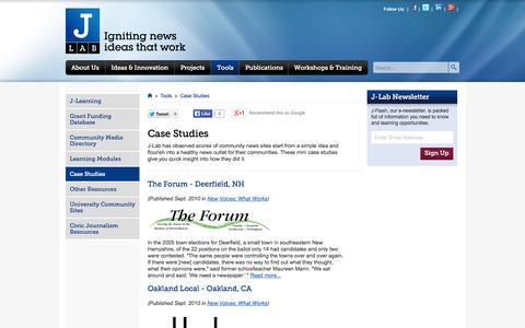 Screenshot of Case Studies Page j-lab.org - J-Lab - captured Sept. 30, 2014