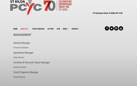 Screenshot of Team Page stkildapcyc.org - Management - St. Kilda PCYC - captured Feb. 23, 2018