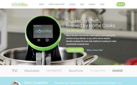 Screenshot of Home Page nomiku.com - Sous Vide at Home with Nomiku - captured Nov. 25, 2016