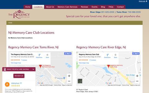 Screenshot of Locations Page regencymemorycare.com - Memory Care Club Toms River & River Edge NJ | Regency Memory Care - captured Oct. 20, 2018